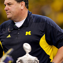 January 3, 2012; New Orleans, LA, USA; Michigan Wolverines head coach Brady Hoke during the trophy ceremony after a win over the Virginia Tech Hokies in overtime in the Sugar Bowl at the Mercedes-Benz Superdome. Michigan defeated Virginia 23-20 in overtime. Mandatory Credit: Derick E. Hingle-US PRESSWIRE