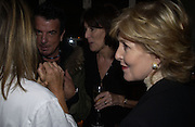 Ruth Rogers, Nicky Haslam, ? and Patricia Hodge. party for Anthony Lane's book hosted  given by David Remnick, editor of the New Yorker. River Cafe. 12 November 2002.  © Copyright Photograph by Dafydd Jones 66 Stockwell Park Rd. London SW9 0DA Tel 020 7733 0108 www.dafjones.com