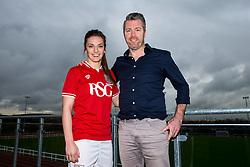 Chloe Arthur of Bristol City Women's FC poses with manager Willie Kirk - Mandatory byline: Rogan Thomson/JMP - 11/01/2016 - FOOTBALL - Stoke Gifford Stadium - Bristol, England - Bristol City Women's FC New Signings.