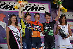 The top three celebrate  on the podium after Stage 10 of the Giro Rosa - a 124 km road race, starting and finishing in Torre Del Greco on July 9, 2017, in Naples, Italy. (Photo by Balint Hamvas/Velofocus.com)