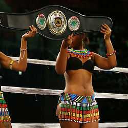 DURBAN, SOUTH AFRICA - MAY 16, Ring girls during the pre fight card during the WBC ELIMINATION FIGHT,at the  Inkosi Albert Luthuli ICC, Durban May 16, 2015 in DURBAN, South Africa. (Photo by Steve Haag)