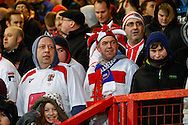 Picture by David Horn/Focus Images Ltd +44 7545 970036<br /> 25/01/2014<br /> Stevenage fans before the The FA Cup match at the Lamex Stadium, Stevenage.