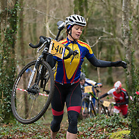 Michelle O'Halloran climbing the steep hill in lees rd during the Ennis CX Cyclocross Race