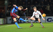 Andy Cannon, Scott Laird during the Sky Bet League 1 match between Scunthorpe United and Rochdale at Glanford Park, Scunthorpe, England on 28 December 2015. Photo by Daniel Youngs.