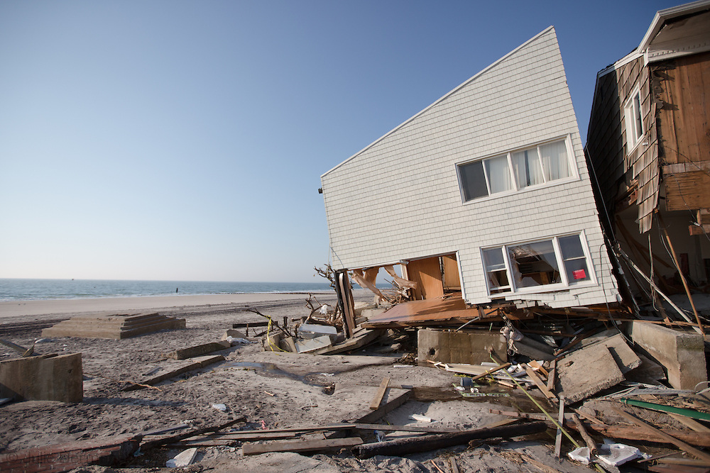 Nov. 11, New York, New York, Home destroyed by Hurricane Sandy in Belle Harbor, part of the Rockaways in Queens. Sandy's surge flooded much of the tri-state area leaving thousands without power two weeks after the storm. The super storms strength is blamed by many scientists on Climate Change.