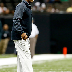 Oct 5, 2013; New Orleans, LA, USA; Tulane Green Wave head coach Curtis Johnson against the North Texas Mean Green during the second half at Mercedes-Benz Superdome. Tulane defeated North Texas 24-21. Mandatory Credit: Derick E. Hingle-USA TODAY Sports