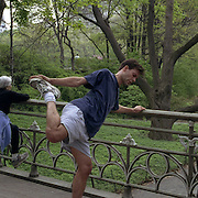 With space at a premium in the vast metropolis of Manhattan, New York City, locals find ways and means for pastime exercise and recreational activities as they and go about their daily lives..Excercise in Central Park on May 4, 2004. Photo Tim Clayton..