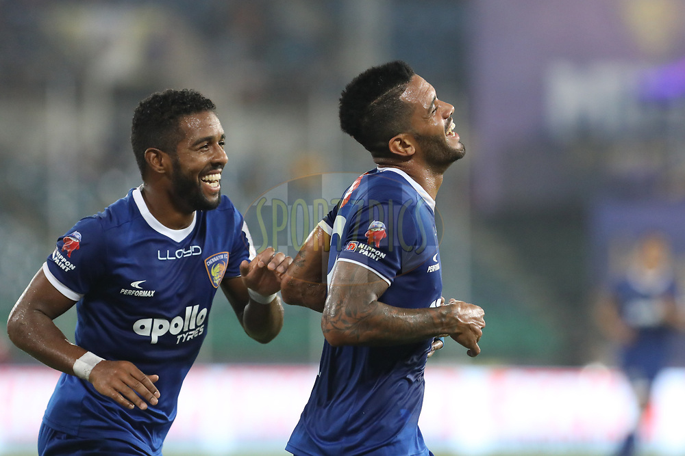 Raphael Augusto of Chennaiyin FC  celebrate goal during match 6 of the Hero Indian Super League between Chennaiyin FC and NorthEast United FC held at the Jawaharlal Nehru Stadium, Chennai India on the 23rd November 201719<br /> <br /> Photo by: Arjun Singh  / ISL / SPORTZPICS