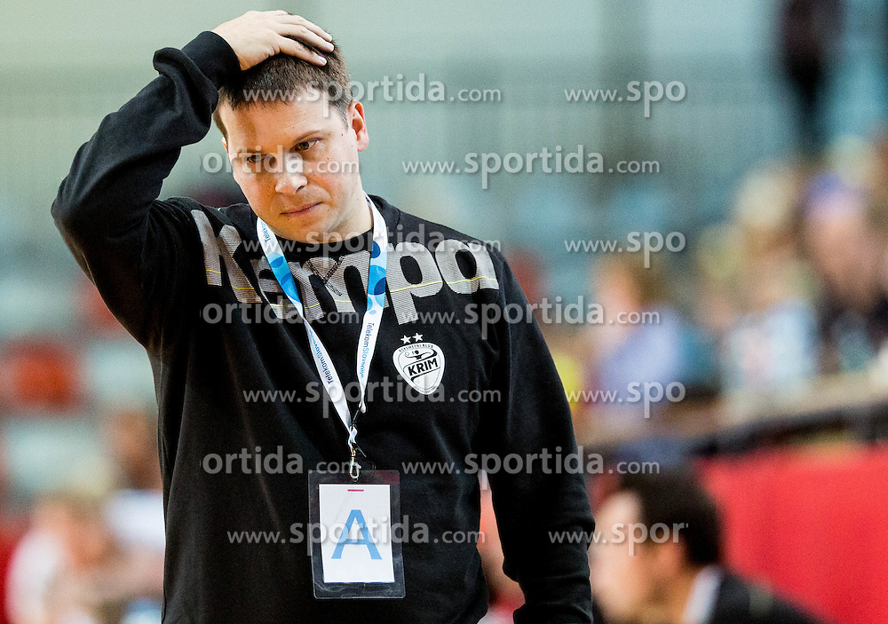 Uros Bregar, head coach of RK Krim during 2nd Leg handball match between RK Krim Mercator and HC Lada Togliatti (ROU) in Semifinal of Women Cup Winners' Cup 2015/16, on April 9, 2016 in Arena Kodeljevo, Ljubljana, Slovenia. Photo by Vid Ponikvar / Sportida