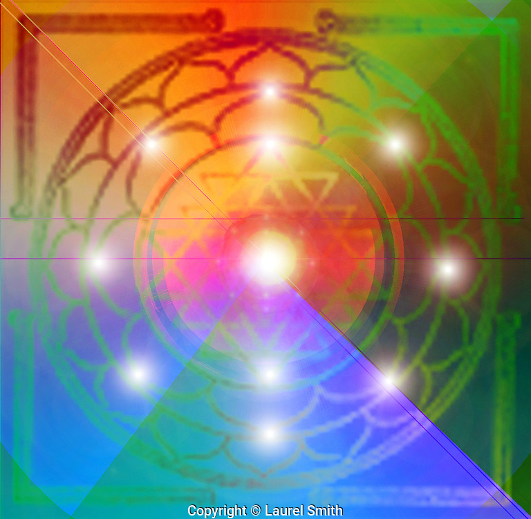 Sri Chakra Yantra for manifestion and creation, using the goddess energy of creation. For focusing attention in prayer and meditation.<br /> &copy; Laurel Smith