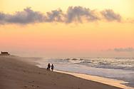 Friends walking on beach, Ocean Rd Beach, Bridgehampton, NY