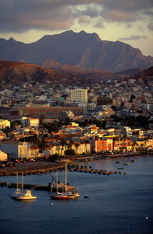 Mindelo seen from the Fortim. The old part of town has beautiful examples of colonial architecture and the it is also the most cosmopolitan and cultural of the Cape Verde archipelago.
