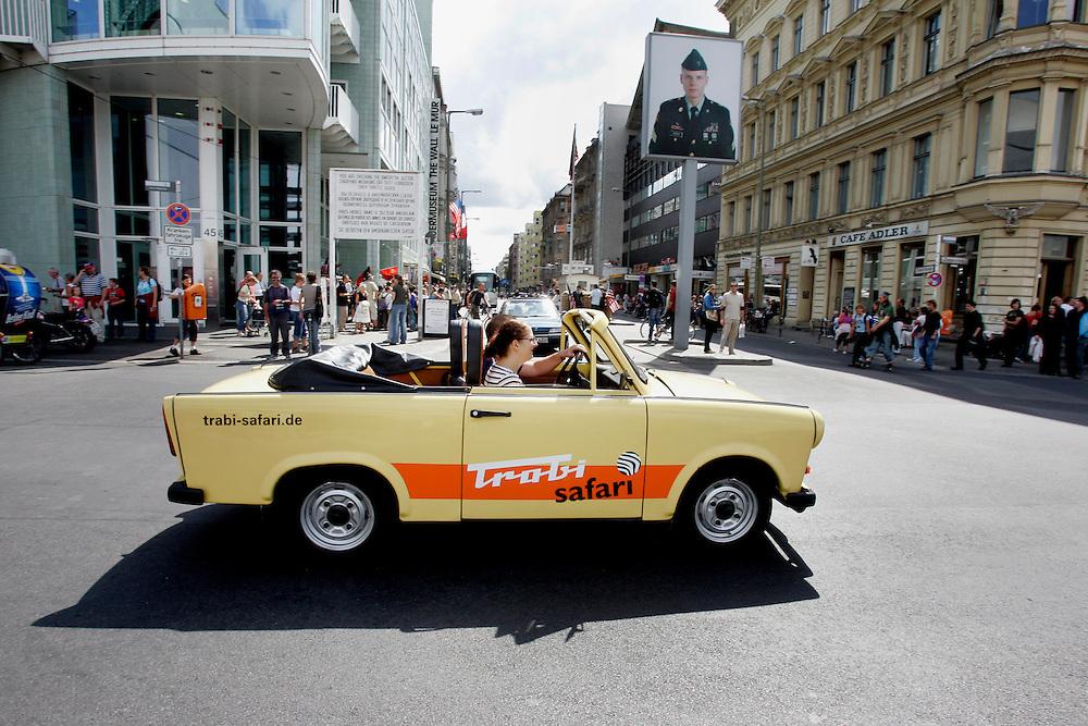 GERMANY - BERLIJN - Tourists in a Trabant on Trabi-Safari near Checkpoint Charlie. PHOTO GERRIT DE HEUS