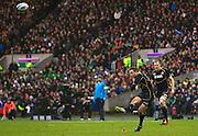 09.02.2013 Edinburgh, Scotland.   Scotland's Greg Laidlaw makes it 12-8  during the RBS Six Nations Championship match between Scotland and Ireland, from Murrayfield Stadium.
