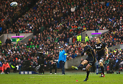 09.02.2013 Edinburgh, Scotland.   Scotland's Greg Laidlaw makes it 12-8  during the RBS Six Nations Championship match between Scotland and Ireland, from Murrayfield Stadium.
