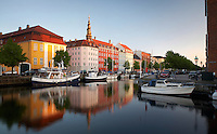 Church of Our Savior spire with boats in Copenhagen.