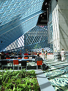Interior foyer, Seattle Public Library, designed by Dutch architect Rem Koolhaas, finished in 2004. Address: 1000 Fourth Ave, Seattle, Washington 98164, USA.