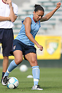 25 April 2008: Angela Hucles. The United States Women's National Team held a training session in WakeMed Stadium, formerly SAS Stadium, in Cary, NC.