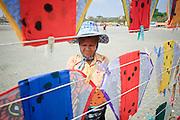 Mar 25, 2009 -- BANGKOK, THAILAND: A woman sells Thai fighting kites at Sanam Luang, the Royal Parade Ground in Bangkok, Thailand. Photo by Jack Kurtz