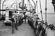 "Sea Scouts aboard the Lightship ""Albatross""..1972..22.07.1972..07.22.1972..22nd July 1972..Standing at the head of the line, Mr Brendan O'Kelly,Chief Executive,BIM, poses with the assembled sea scouts."