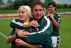 Adrijana Bogolin and coach Boris Devetak of Krka at final game of NZS women football cup between ZNK Pomurje vs ZNK Krka, on June 4, 2008, at ZAK stadium in Ljubljana, Slovenia. Krka won the match 4:1 and became Slovenian Cup Champion. (Photo by Vid Ponikvar / Sportal Images)