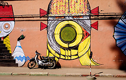 A painted wall in the Mellah district of Marrakech, Morocco, North Africa<br /> <br /> <br /> (c) Andrew Wilson   Edinburgh Elite media