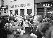Image of Fianna Fáil leader Charles Haughey touring West Cork during his 1982 election campaign...04/02/1982.02/04/82.4th February 1982..Out and About:..Charles Haughey surrounded by well wishers on the streets as he seeks their votes in the upcoming general election..