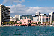The Royal Hawaiian Hotel from the Pacific Ocean.