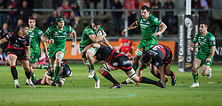 Connacht's Eoghan Masterson is tackled by Dragons' Cory Hill<br /> <br />  - Mandatory by-line: Craig Thomas/JMP - 15/09/2017 - RUGBY - Rodney Parade - Newport, Gwent, Wales - Newport Gwent Dragons v Connacht Rugby - Guinness Pro 14