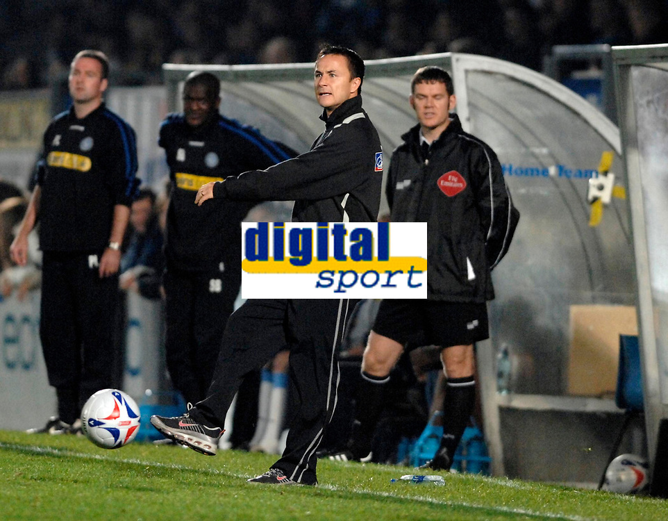 Photo: Richard Lane.<br />Wycombe Wanderers v Swindon Town. Johnstone's Paint Trophy. 17/10/2006. <br />Swindon manager, Dennis Wise shows his frustration.
