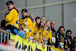 Fans of HC Pusteral during Ice Hockey match between HK SZ Olimpija and HC Pustertal Wolfe in 3rd Final game of Alps Hockey League 2018/19, on April 14th, 2019, in Hala Tivoli, Ljubljana, Slovenia. Photo by Grega Valancic