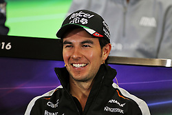 Sergio Perez (MEX) Sahara Force India F1 in the FIA Press Conference.<br /> 27.10.2016. Formula 1 World Championship, Rd 19, Mexican Grand Prix, Mexico City, Mexico, Preparation Day.<br /> Copyright: Photo4 / XPB Images / action press