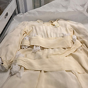 BOWIE, MD - MAY3: A wedding dress that was made just after World War II ended, from a parachute acquired by a young man for his betrothed who wanted to be married in white, was worn at a wedding in a displaced persons camp near Bergen-Belsen in Germany, and is now carefully stored at the U.S. Holocaust Memorial Museum's David and Fela Shapell Family Collections, Conservation and Research Center in Bowie, MD, May 3, 2017. The dress was worn by more than a dozen other brides in the displaced persons camp.<br /> <br /> The 80,000-square-foot Shapell Center is a state-of-the-art facility that will house the collection of record of the Holocaust, including historical artifacts, documents, photographs, film and other objects related to the Holocaust. (Photo by Evelyn Hockstein/For The Washington Post)