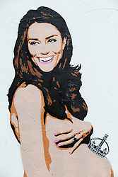 © Licensed to London News Pictures. 13/11/2014. LONDON, UK. A spray-painted picture of the pregnant Duchess of Cambridge, naked with a miniature crown balancing on her belly, made by graffiti artist Pegasus, has appeared on a wall in Islington, north London. Photo credit : Tolga Akmen/LNP