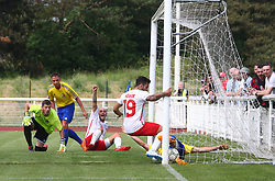 May 31, 2018 - London, United Kingdom - Mehmet Billy of Northern Cyprus celebrates the first goal.during Conifa Paddy Power World Football Cup 2018  Group B match between Northern Cyprus against Karpatalya at Queen Elizabeth II Stadium (Enfield Town FC), London, on 31 May 2018  (Credit Image: © Kieran Galvin/NurPhoto via ZUMA Press)