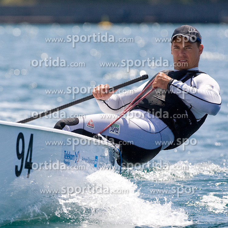 Vasilij Zbogar of Slovenia sails at practice session on May 19, 2010 near Marina Izola / Marina di Isola, Izola, Slovenia. (Photo by Vid Ponikvar / Sportida)