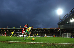 Adama Traore of Middlesbrough takes on Christoph Zimmermann of Norwich City under grey skies at Carrow Road - Mandatory by-line: Robbie Stephenson/JMP - 03/02/2018 - FOOTBALL - Carrow Road - Norwich, England - Norwich City v Middlesbrough - Sky Bet Championship