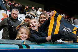 Wasps fans cheer after their side win their last match at Adams Park. Wasps next home game will be at their new home in Coventry, the Ricoh Arena - Photo mandatory by-line: Rogan Thomson/JMP - 07966 386802 - 14/12/2014 - SPORT - RUGBY UNION - High Wycombe, England - Adams Park Stadium - Wasps v Castres Olympique - European Rugby Champions Cup Pool 2.