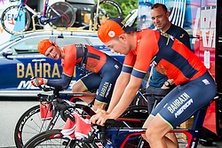 Grega Bole of Bahrain Merida, Ales Murn and Domen Novak of Bahrain Merida at warming up prior to the 5th Time Trial Stage of 25th Tour de Slovenie 2018 cycling race between Trebnje and Novo mesto (25,5 km), on June 17, 2018 in  Slovenia. Photo by Vid Ponikvar / Sportida