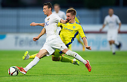Dobrovoljc Gaber of NK Domzale vs Srnic Slavoljub of FK Cukaricki during 1st Leg football match between NK Domzale (SLO) na FC Cukaricki (SRB) in 1st Round of Europe League 2015/2016 Qualifications, on July 2, 2015 in Sports park Domzale,  Slovenia. Photo by Vid Ponikvar / Sportida