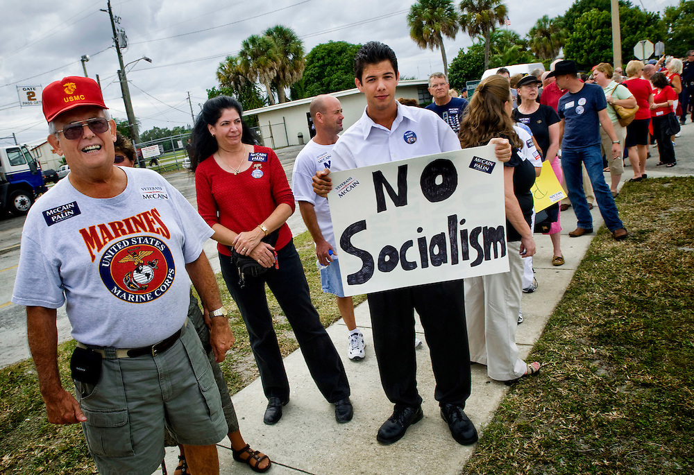 Florida Swingstate..McCain supporters waiting in line to attend a rally where John McCain speaks..Joseph Crosby, 20, of Sarasota, first time voter. ..Photographer: Chris Maluszynski /MOMENT