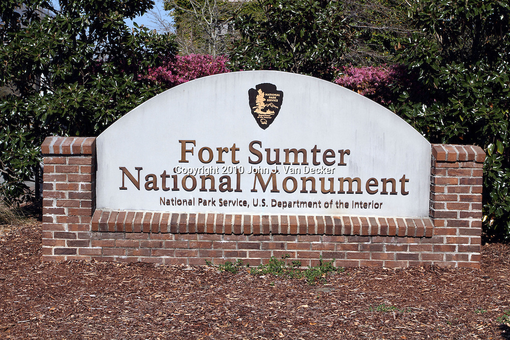 Sign for Fort Sumter National Mmonument, Charleston, SC. The bombardment of Fort Sumter by the Confederates on April 12, 1861 started the American Civil War.