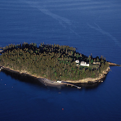 Acadia N.P., ME. Aerial. Bear Island - near the Cranberry Isles. Atlantic Ocean.