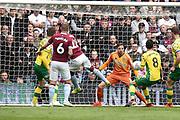 Aston Villa striker Jonathan Kodjia (26) scores a goal from open play 1-1 during the EFL Sky Bet Championship match between Aston Villa and Norwich City at Villa Park, Birmingham, England on 5 May 2019.