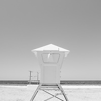 Laguna Beach California lifeguard tower black and white photo. Laguna Beach is a beach community along the Pacific Ocean in Orange County Southern California in the United States.