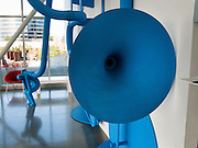 """In the Mind"" art sculpture by Geoff McFetridge (born 1971 in Canada, see his current web site championdontstop.com), displayed at Seattle Art Museum Olympic Sculpture Park Pavilion, Seattle, Washington, USA"