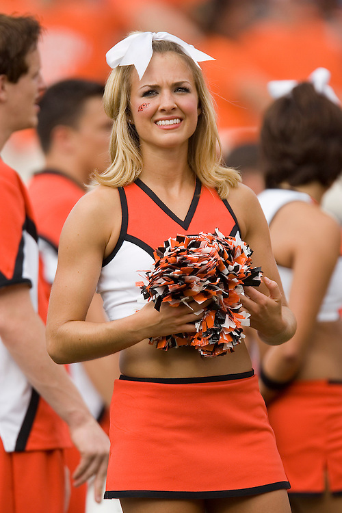 Oklahoma State Cowboys cheerleader looks worried during a 34 to 0 loss to the Colorado Buffaloes on October 1, 2005 at Boone Pickens Stadium in Stillwater, Oklahoma.