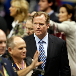 Feb 3, 2013; New Orleans, LA, USA; NFL commissioner Roger Goodell arrives for Super Bowl XLVII between the San Francisco 49ers and the Baltimore Ravens at the Mercedes-Benz Superdome. Mandatory Credit: Derick E. Hingle-USA TODAY Sports