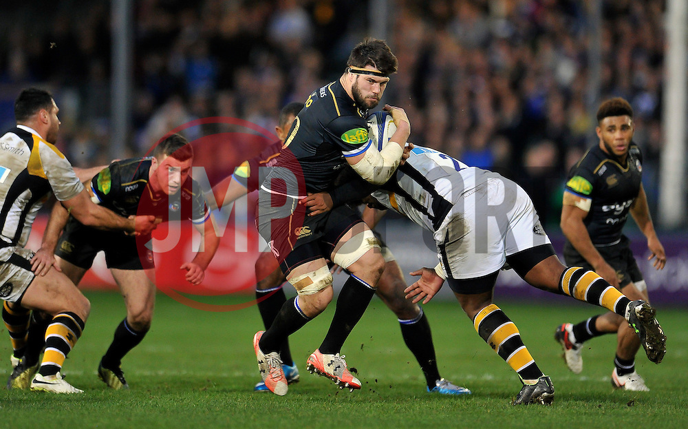 Guy Mercer of Bath Rugby takes on the Wasps defence - Mandatory byline: Patrick Khachfe/JMP - 07966 386802 - 19/12/2015 - RUGBY UNION - The Recreation Ground - Bath, England - Bath Rugby v Wasps - European Rugby Champions Cup.