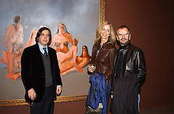 Left to right, Artist GEORGE CONDO BARBARA BACH and RINGO STARR at an exhibition of paintings by artist George Condo entitled 'Religious Paintings' held at the Spruth Magers Lee Gallery, 12 Berkeley Street, London W1 on 12th October 2004.<br />